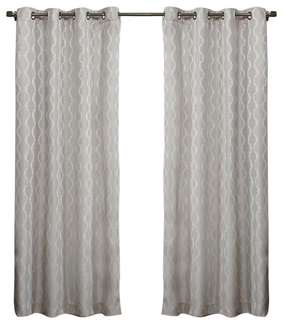 Popular Photo of Baroque Linen Grommet Top Curtain Panel Pairs