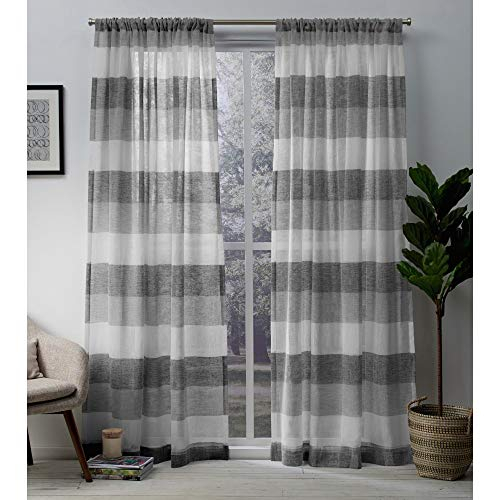 Exclusive Home Bern Stripe Sheer Rod Pocket Curtain Panel Pair Pertaining To Belgian Sheer Window Curtain Panel Pairs With Rod Pocket (View 22 of 46)