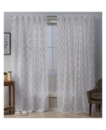 Exclusive Home Bradford Sheer Woven Ogee Embellished Hidden Regarding Essentials Almaden Fretwork Printed Grommet Top Curtain Panel Pairs (#7 of 38)