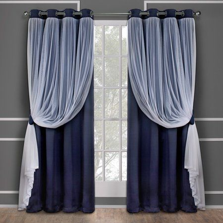 Exclusive Home Catarina Layered Solid Blackout And Sheer With Regard To Solid Grommet Top Curtain Panel Pairs (View 8 of 35)