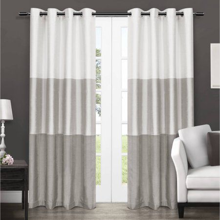 Exclusive Home Chateau Striped Faux Silk Grommet Top Window With Regard To Chester Polyoni Pintuck Curtain Panels (View 7 of 26)