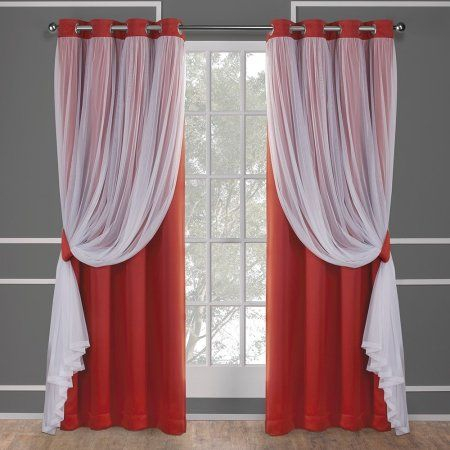 Exclusive Home Curtains 2 Pack Catarina Layered Solid Regarding Solid Grommet Top Curtain Panel Pairs (View 2 of 35)