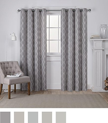 Exclusive Home Curtains Baroque Textured Linen Look Jacquard Intended For Thermal Textured Linen Grommet Top Curtain Panel Pairs (View 15 of 42)