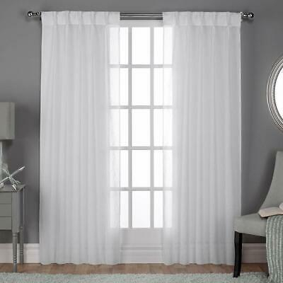 Exclusive Home Curtains Belgian Textured Linen Look Jacquard Sheer Window  Cur 642472018970 | Ebay With Belgian Sheer Window Curtain Panel Pairs With Rod Pocket (View 25 of 46)