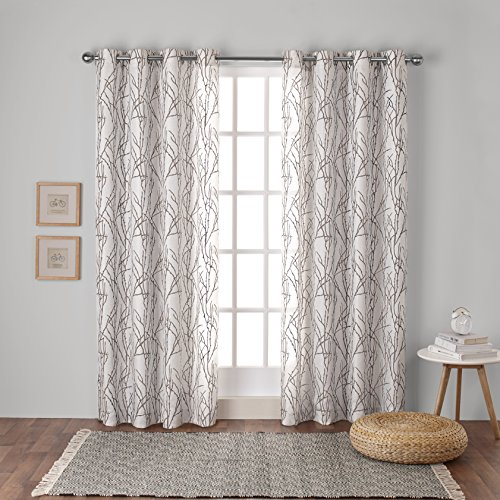 Exclusive Home Curtains Branches Linen Blend Window Curtain Panel Pair With  Grommet Top, 54X63, Natural, 2 Piece For Twig Insulated Blackout Curtain Panel Pairs With Grommet Top (#24 of 50)
