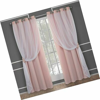 Exclusive Home Curtains Catarina Layered Solid Blackout And Sheer Window Curt | Ebay With Regard To Solid Grommet Top Curtain Panel Pairs (View 27 of 35)