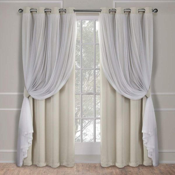 Exclusive Home Curtains Catarina Layered Solid Blackout And Sheer Window  Curtain Panel Pair With Grommet Top, 52X96, Sand, 2 Piece Throughout Woven Blackout Curtain Panel Pairs With Grommet Top (#14 of 42)
