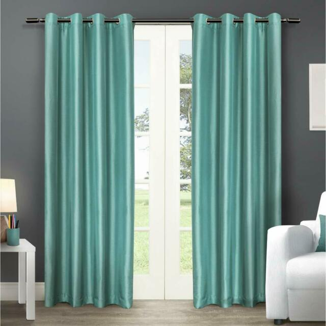 Exclusive Home Curtains Chatra Faux Silk Window Curtain Panel Pair With  Grommet Regarding Raw Silk Thermal Insulated Grommet Top Curtain Panel Pairs (#19 of 46)