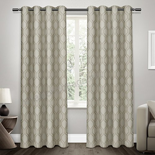 Exclusive Home Curtains Domino Jacquard Grommet Top Window Inside Kochi Linen Blend Window Grommet Top Curtain Panel Pairs (#9 of 36)