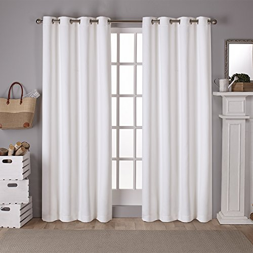 Exclusive Home Curtains Eh7983 01 2 108G Sateen Twill Weave Blackout Window  Curtain Panel Pair With Grommet Top, Vanilla, 52X108, 2 Piece Intended For Woven Blackout Curtain Panel Pairs With Grommet Top (#16 of 42)