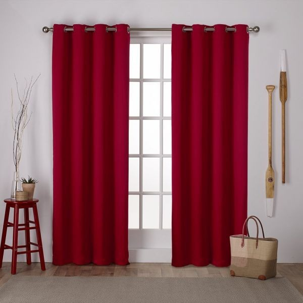 Exclusive Home Curtains Exclusive Home Sateen Twill Weave Blackout Window  Curtain Panel Pair With Grommet Top 52X108 Chili 2 Piece Price In Saudi For Woven Blackout Curtain Panel Pairs With Grommet Top (#17 of 42)