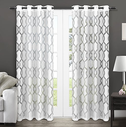 Exclusive Home Curtains Rio Burnout Sheer Grommet Top Window Intended For Penny Sheer Grommet Top Curtain Panel Pairs (#21 of 49)