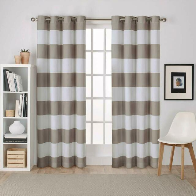 Exclusive Home Curtains Surfside Cabana Stripe Cotton Window Curtain Panel  Pair Inside Tassels Applique Sheer Rod Pocket Top Curtain Panel Pairs (View 13 of 45)