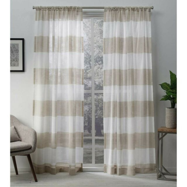 Exclusive Home Darma Sheer Linen Rod Pocket Curtain Panel Pair, Linen,  50 New Throughout Belgian Sheer Window Curtain Panel Pairs With Rod Pocket (View 26 of 46)