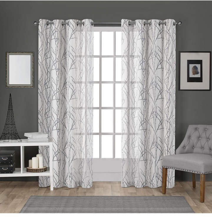 Exclusive Home Edinburgh Sheer Branch Burnout Grommet Top Curtain Panel Pair Within Wilshire Burnout Grommet Top Curtain Panel Pairs (#22 of 45)