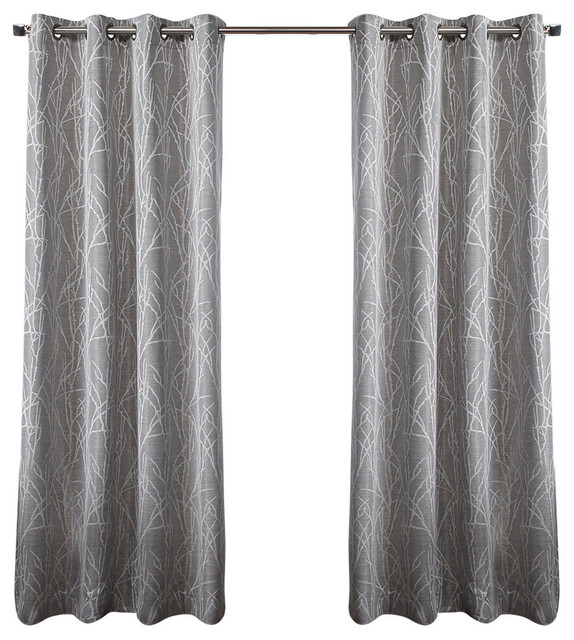 Exclusive Home Finesse Grommet Top 96 Inch Curtain Panel, Set Of 2, Ash Grey With Forest Hill Woven Blackout Grommet Top Curtain Panel Pairs (#15 of 45)