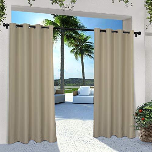 Exclusive Home Indoor/outdoor Solid Cabana Grommet Top Curtain Panel Pair, 2 Pertaining To Ocean Striped Window Curtain Panel Pairs With Grommet Top (View 24 of 41)