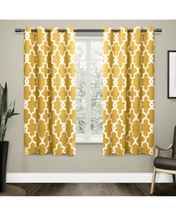 Exclusive Home Ironwork Sateen Woven Blackout Grommet Top Throughout Woven Blackout Curtain Panel Pairs With Grommet Top (#23 of 42)
