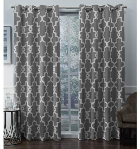 Exclusive Home Ironwork Sateen Woven Room Darkening Window Curtain Panel  Pair – Exclusive Home Intended For Sateen Woven Blackout Curtain Panel Pairs With Pinch Pleat Top (#8 of 40)