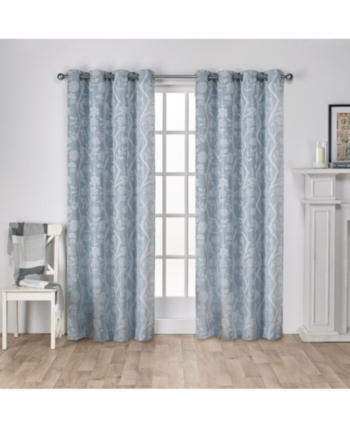 Exclusive Home Lamont Jacquard Grommet Top Curtain Panel For Wilshire Burnout Grommet Top Curtain Panel Pairs (#24 of 45)