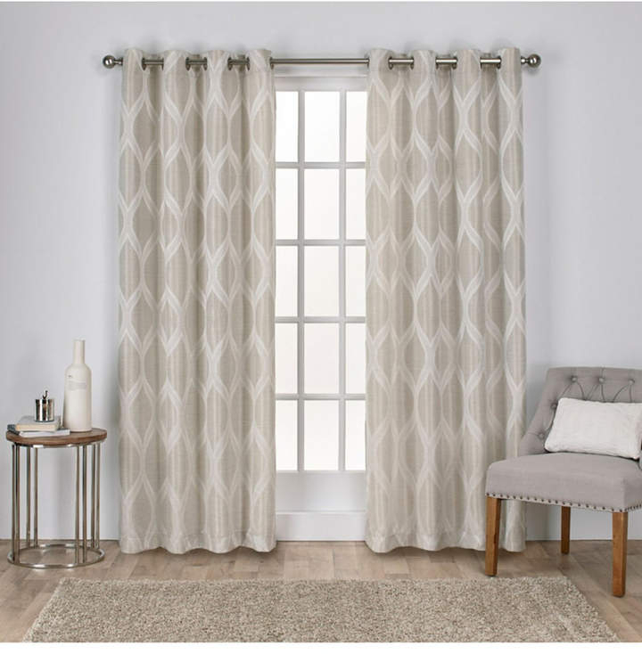 Exclusive Home Montrose Ogee Geometric Textured Linen Grommet Top Curtain  Panel Pair With Regard To Oakdale Textured Linen Sheer Grommet Top Curtain Panel Pairs (#9 of 41)