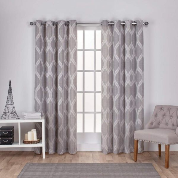 Exclusive Home Montrose Ogee Geometric Textured Linen Window Within Thermal Textured Linen Grommet Top Curtain Panel Pairs (View 24 of 42)