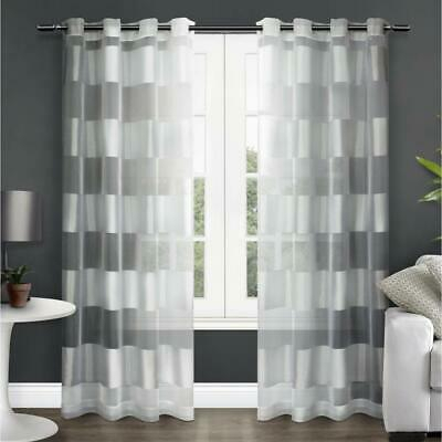 Exclusive Home Navaro Striped Sheer Grommet Top Curtain Panel Pair, Winter  642472008810 | Ebay Intended For Penny Sheer Grommet Top Curtain Panel Pairs (#23 of 49)