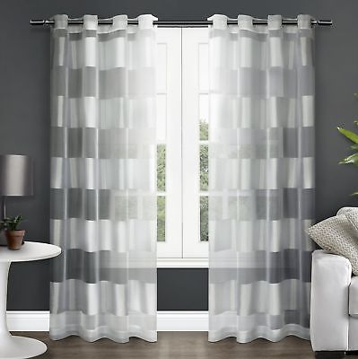 Exclusive Home Navaro Striped Sheer Window Curtain Panel Pair With Grommet  Top 642472008810 | Ebay Throughout Wilshire Burnout Grommet Top Curtain Panel Pairs (#25 of 45)