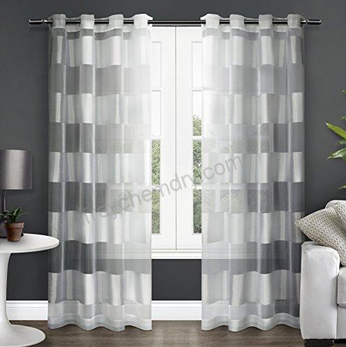 Exclusive Home Navaro Striped Sheer Window Curtain Panel Regarding Kochi Linen Blend Window Grommet Top Curtain Panel Pairs (View 36 of 36)