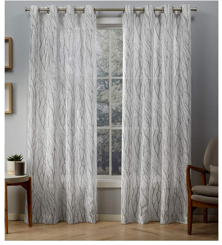 Exclusive Home Oakdale Motif Textured Sheer Linen Grommet Top Curtain Panel  Pair Inside Baroque Linen Grommet Top Curtain Panel Pairs (View 28 of 48)
