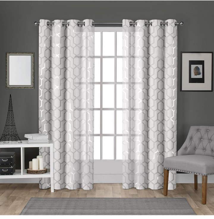 Exclusive Home Panza Metallic Geometric Print Sheer Grommet Top Curtain  Panel Pair Inside Catarina Layered Curtain Panel Pairs With Grommet Top (View 19 of 30)