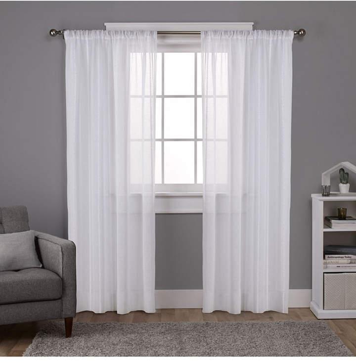 Exclusive Home Santos Embellished Stripe Textured Linen Sheer Rod Pocket  Curtain Panel Pair For Montpellier Striped Linen Sheer Curtains (#21 of 50)
