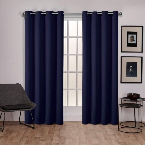 Exclusive Home Sateen Twill Weave Blackout Window Curtain Panel Pair With Grommet Top 52x84 Peacoat Blue 2 Piece Intended For Woven Blackout Curtain Panel Pairs With Grommet Top (View 16 of 42)