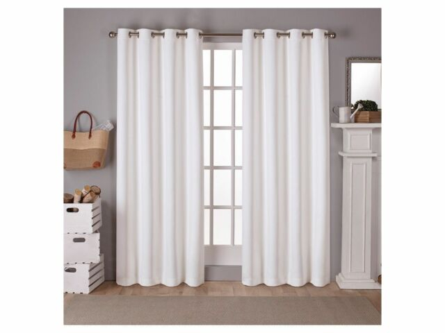 """Exclusive Home Set Of 2 Winter White Tweed Blackout Grommet Panels 52"""" X 84"""" With Regard To Oxford Sateen Woven Blackout Grommet Top Curtain Panel Pairs (View 12 of 44)"""
