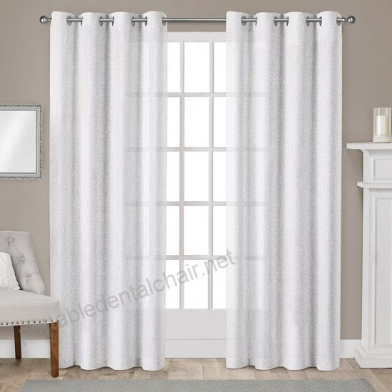 Exclusive Home Sparkles Heavyweight Metallic Fleck Textured Throughout Kochi Linen Blend Window Grommet Top Curtain Panel Pairs (#16 of 36)