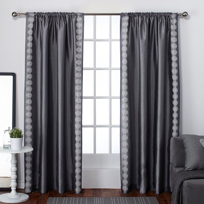 Exclusive Home Tiffany Striped Embroidery Rod Pocket Curtain Pertaining To Copper Grove Fulgence Faux Silk Grommet Top Panel Curtains (View 21 of 50)