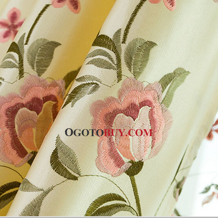 Exquisite Embroidered Floral Curtains Beige Color Faux Silk In Ofloral Embroidered Faux Silk Window Curtain Panels (View 13 of 50)