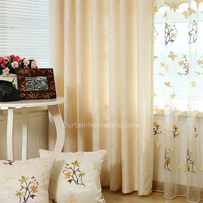 Exquisite Embroidered Pattern On Beige Faux Silk Fabric Floral Curtain #chs10831 Within Ofloral Embroidered Faux Silk Window Curtain Panels (View 37 of 50)