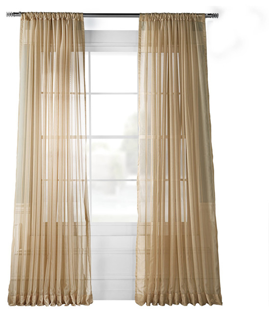 Extra Wide Solid Soft Tan Voile Poly Sheer Curtain Single Panel, 100W X 120L With Signature Extrawide Double Layer Sheer Curtain Panels (#24 of 50)