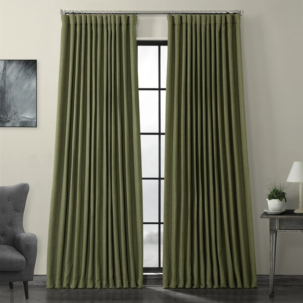 Extra Wide Width Curtains | Wayfair Throughout Heavy Faux Linen Single Curtain Panels (View 12 of 32)