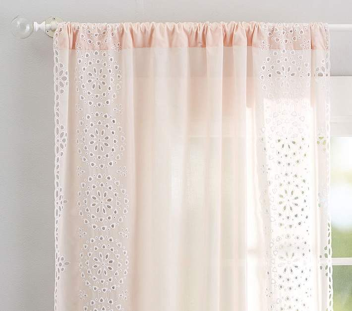 "Eyelet Border Sheer Panel, 44 X 63"", Blush 