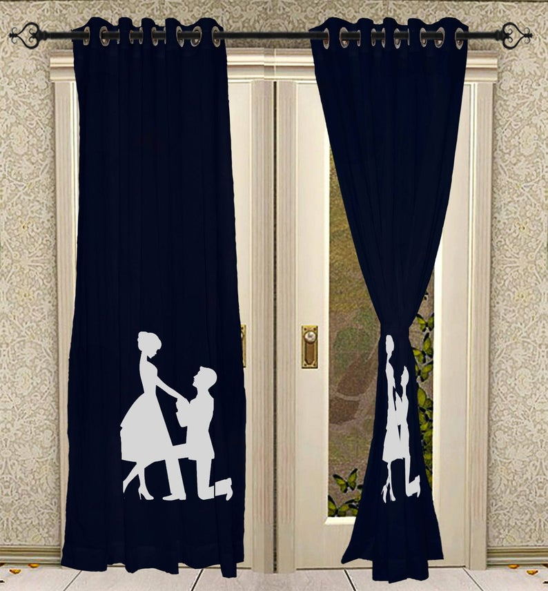 Eyelet Hand Block Printed Curtain Panels For Living Room Solid Cotton Blue  Curtains 2 Pcs Panel Set Regarding Solid Cotton Curtain Panels (#23 of 47)
