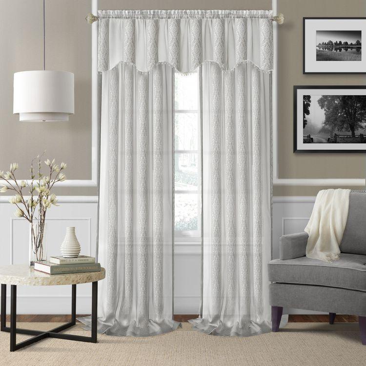 Ezra Sheer Jacquard Rod Pocket Curtain Panel Pair With Chester Polyoni Pintuck Curtain Panels (#8 of 26)