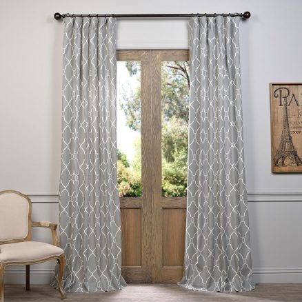 Fabric Decorating Grey Cotton Curtain – Symphonyhms Within Bark Weave Solid Cotton Curtains (View 24 of 50)