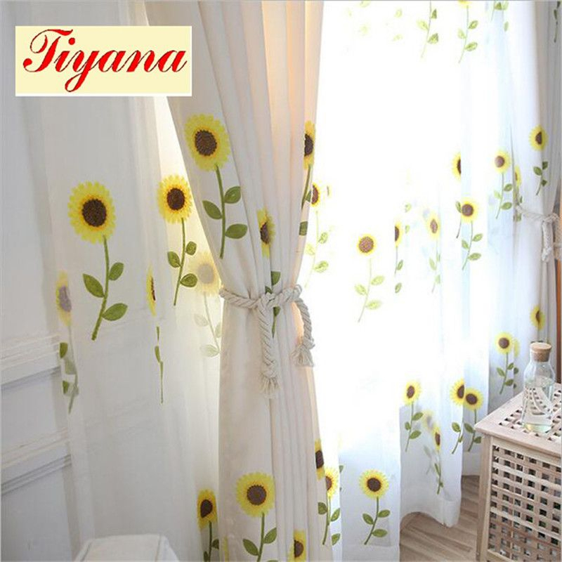 Fancy Modern Good Quality Sunflower Embroidery Curtain Sheer For Kida Embroidered Sheer Curtain Panels (#18 of 50)