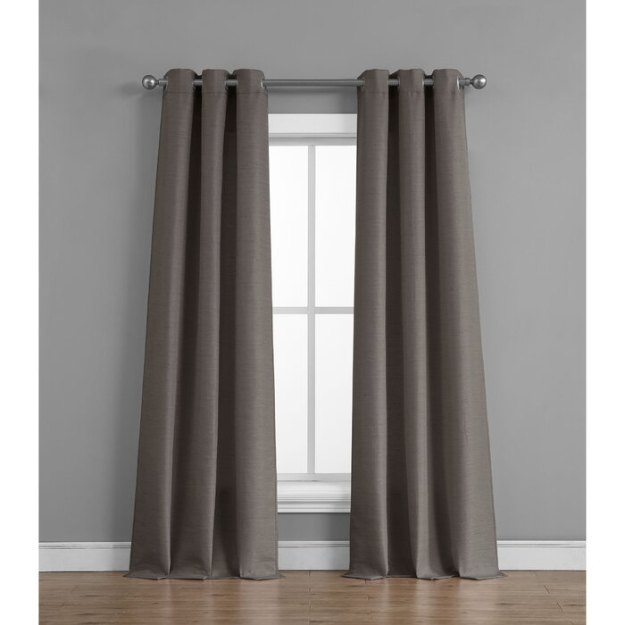 Fareham Raw Faux Silk Semi Sheer Grommet Curtain Panels Inside Raw Silk Thermal Insulated Grommet Top Curtain Panel Pairs (#20 of 46)