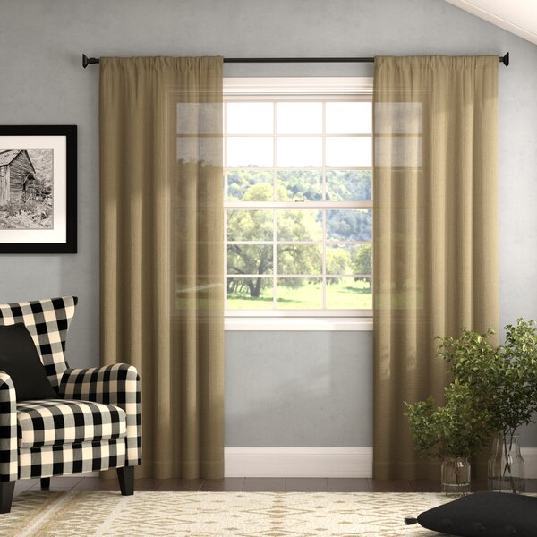 Farmhouse Burlap Curtains | Wayfair For Kaiden Geometric Room Darkening Window Curtains (#17 of 39)