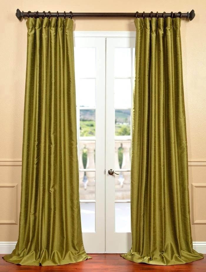 Faux Dupioni Silk Curtains Buy Chartreuse Yarn Dyed Faux Throughout Storm Grey Vintage Faux Textured Dupioni Single Silk Curtain Panels (View 36 of 50)