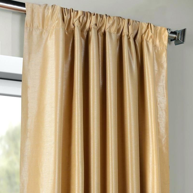 Faux Dupioni Silk Warm Stone Vintage Textured Curtain Panel Pertaining To Storm Grey Vintage Faux Textured Dupioni Single Silk Curtain Panels (View 35 of 50)