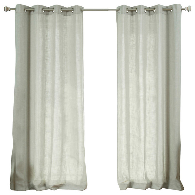 Faux Linen Blend Curtain Panel, Set Of 2 Pertaining To Montpellier Striped Linen Sheer Curtains (#22 of 50)